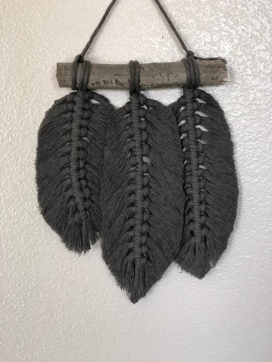 black macrame feathers