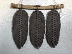 macrame feathers black three driftwood