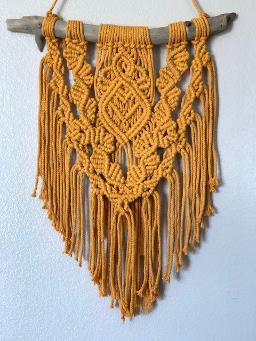 macrame wall hanging orange driftwood