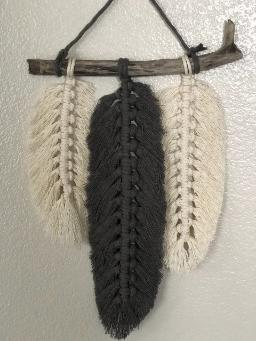 macrame feathers white and black