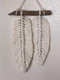 two feathers macrame wall hanging